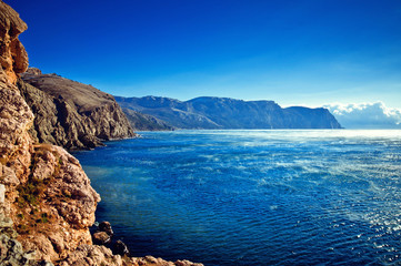 Beautiful landscape of mountains and sea
