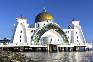 Masjid selat Mosque in Malacca Malaysia