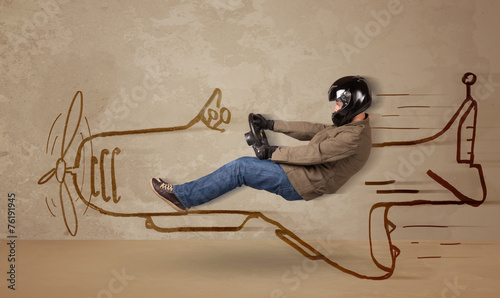 canvas print picture Funny pilot driving a hand drawn airplane on the wall