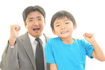 笑顔の男の子と教師