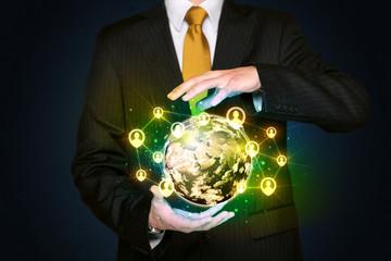 Businessman holding a social media globe