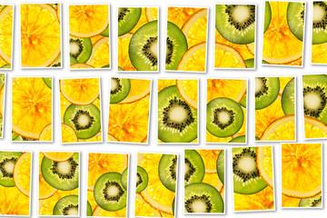 kiwi oranges mix colorful sliced fruits  background collage