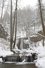 The mountain river in the winter