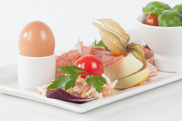 breakfast plate with cooked egg
