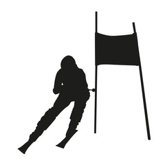 Vector silhouette of the skier passing gate