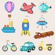 Set of nine transport toys for little kids. - 76194760