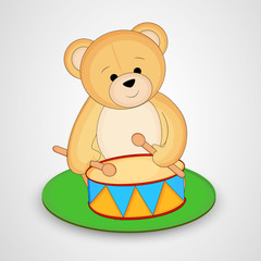 Cute bear ringing drum on grey background.