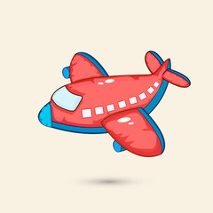 Red airplane toy for kids on beige background.
