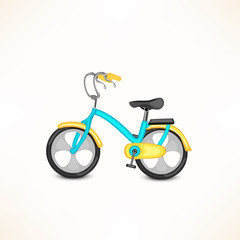 Cute bicycle for kids on grey background.
