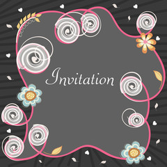Beautiful flowers decorated invitation card design.