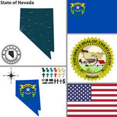 Map of state Nevada, USA