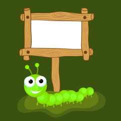 Green centipede with blank wooden board.