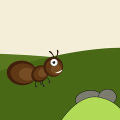 Funny cartoon of an ant on nature background.