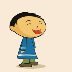 Character of a cute laughing boy in blue dress.