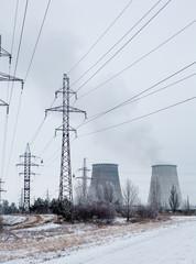 Cogeneration plant near Kyiv (Ukraine) in winter