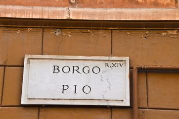 Borgo Pio street plate in ROme