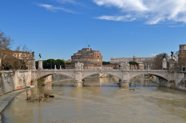 Castel Sant'angelo view from river Tiber, in Rome, Italy.