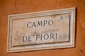 Street Plate, Campo dei Fiori in Rome