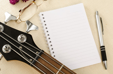 white paper on electric bass guitar