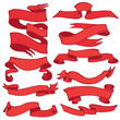 Old ribbon banner set .Hand drawing retro.Red