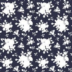 Seamless white floral pattern on dark blue. Vector illustration.