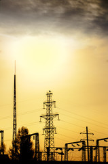 Electric line, wires tower and poles i