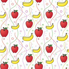 Apples and Bananas seamless pattern