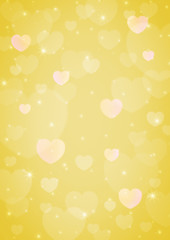 light yellow heart bokeh for love background