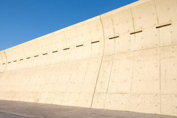 High concrete wall at seaside for protect tsunami big wave