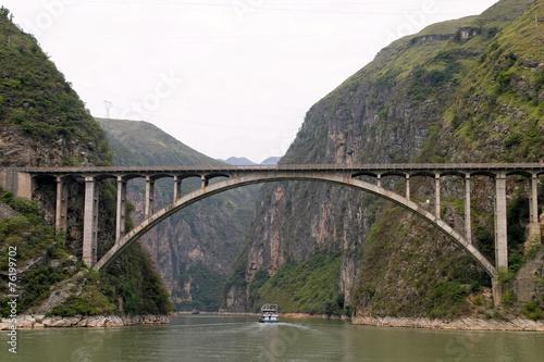 Papiers peints Riviere Beautiful Jiujiang Yangtze River Bridge At Dusk