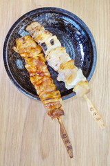 Japanese food skewer grilled chicken with salt or sauce