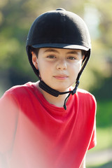 portrait of a young jockey