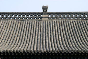 Traditional Chinese Roof with the blue sky