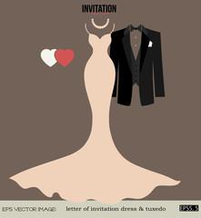 eps Vector image: letter of invitation dress & tuxedo