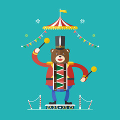 Bear drummer circus theme ,Vector illustration