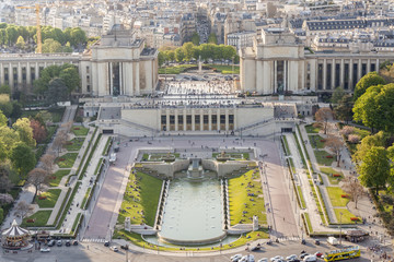 Aerial view from Eiffel Tower on Champ de Mars - Paris.