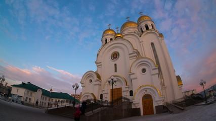 Russian Temple, Сhurch of the Nativity, Krasnoyarsk, time lapse