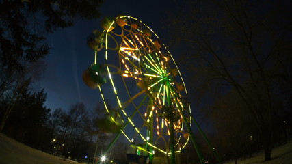 ferris wheel in park of recreation, krasnoyarsk, time lapse