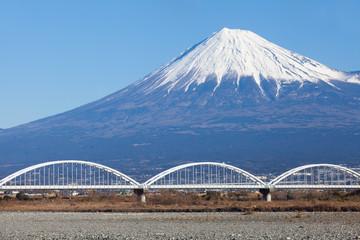 Mountain Fuji and blue sky in winter season