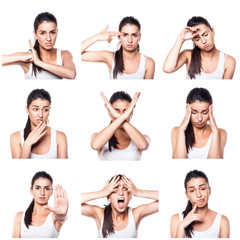 Composite of negative emotions and gestures with girl