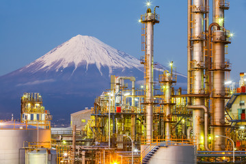 Japan oil refinery plant  with mountain Fuji in background