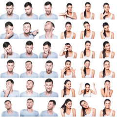 Composite of positive and negative emotions with boy and girl