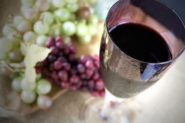 top of glass of grape juice