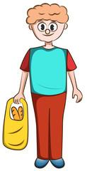 Cartoon Man Holding Shopping Bag