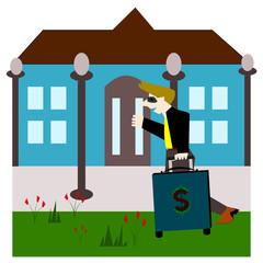Drag baggage money come home, Vector cartoon concept