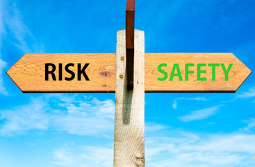 Risk versus Safety messages, Right choice conceptual image