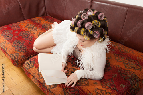 canvas print picture portrait of a model with a book
