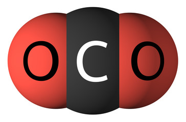 Carbon dioxide molecule isolated on white