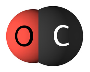 Carbon monoxide molecule isolated on white