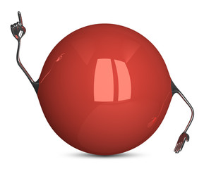 Red sphere character in moment of insight